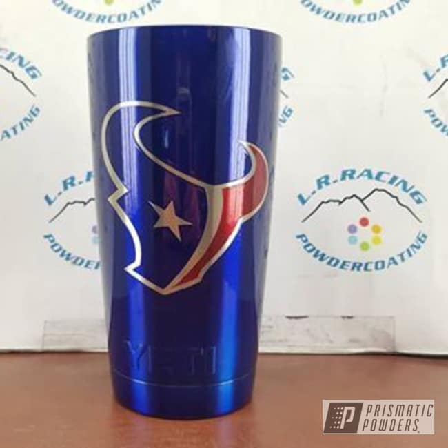 Powder Coating: Tumbler,Texans Theme,Two Coat Application,Powder Coated Tumbler Cup,Intense Blue PPB-4474,Soft Red Candy PPS-2888,NFL Football,Miscellaneous