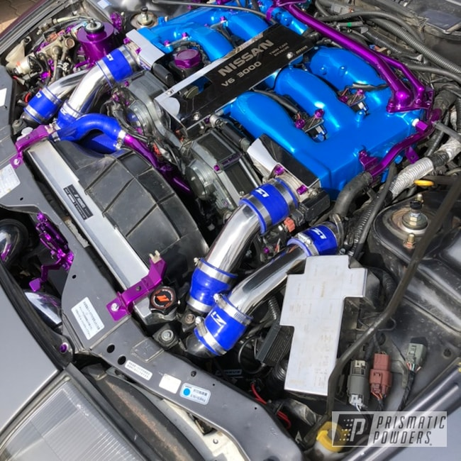 Powder Coating: Automotive,Clear Vision PPS-2974,Nissan,Ford Racing Engine Blue,Illusion Lite Blue PMS-4621,Engine Parts,Illusion Violet PSS-4514