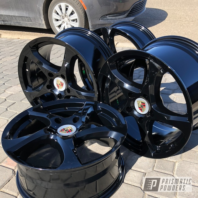"Powder Coating: Wheels,Automotive,Porsche Wheels,Custom Wheels,GLOSS BLACK USS-2603,Porsche,20"",20"" Wheels"