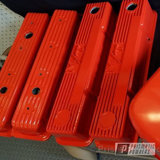 Powder Coating: Single Powder Application,Automotive,Chevy Valve Covers,Chevy Oil Pan,Chevy Orange PSS-0163,Custom Automotive Parts,Before and After,Valve Cover