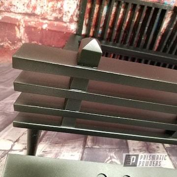 Powder Coated Black Wood Rack