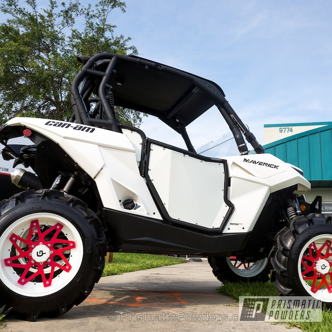 Powder Coating: Wheels,Clear Vision PPS-2974,ATV,Three Coat Application,White Out PSS-4103,Powder Coated ATV Wheels,Corkey Pink PPS-5875