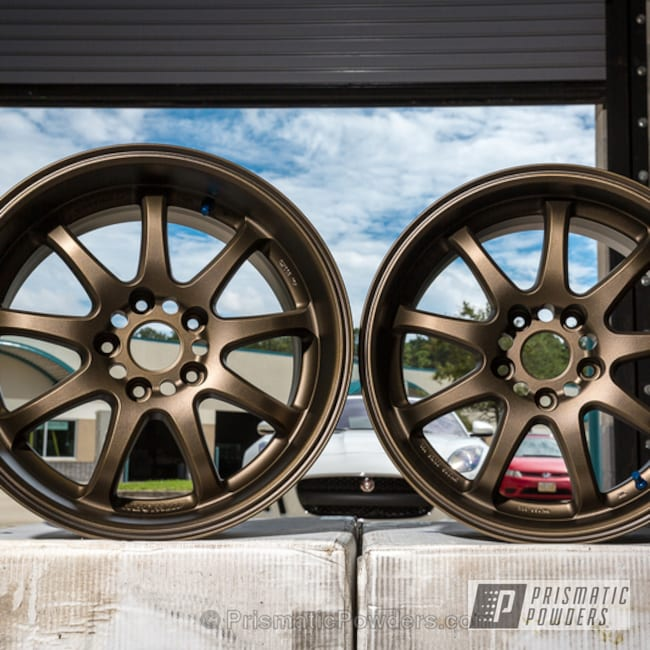 Set Of Wheels Done In A Metallic Bronze Powder Coat