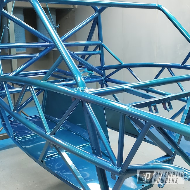 Powder Coating: Automotive,SUPER CHROME USS-4482,Maui Blue PPB-5210,Exocet Chassis