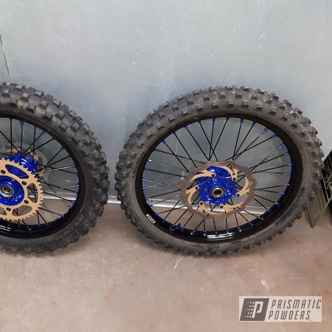 Powder Coating: Ink Black PSS-0106,Powder Coated KX250 Dirt Bike Wheel,Bike,Motorcycles,Intense Blue PPB-4474,Dirt Bike
