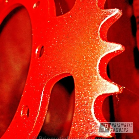 Powder Coating: Motorcycle Sprocket,Two Coat Application,Custom Powder Coating,Motorcycles,Diamond Pearl Clear PPB-6631,Flat Red PSB-4777