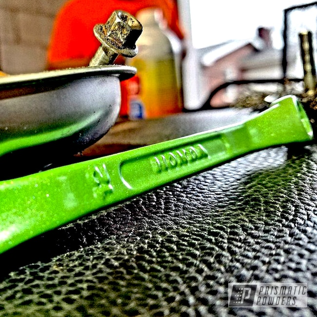 Powder Coating: RAL 6018 Yellow Green,Custom Powder Coated Socket Wrench,Two Coat Application,Shop Tools,Diamond Pearl Clear PPB-6631,Miscellaneous
