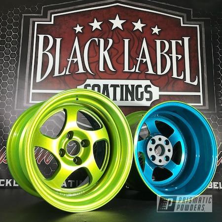 Powder Coating: HAWAIIAN TEAL UPB-1736,Wheels,CCW Wheels,Automotive,Custom Finish,Alien Silver PMS-2569,Shocker Yellow PPS-4765