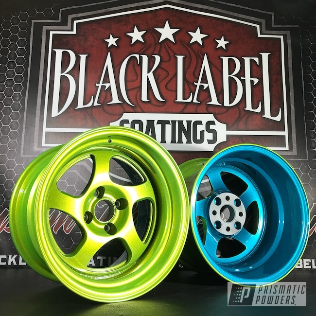 Powder Coating: HAWAIIAN TEAL UPB-1736,Wheels,CCW Wheels,Automotive,Custom Finish,Alien Silver PMS-2569,Shocker Yellow PPS-4765