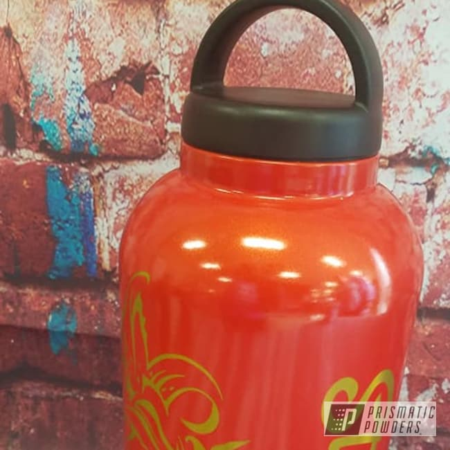 Powder Coating: Custom Cups,Drinkware,Two Color Application,Fire Orange PMB-6463,Psycho Lemon PPB-2366,Water Bottle