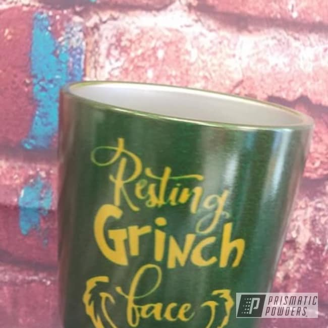 Powder Coating: Illusion Money PMB-6917,Tumbler,Drinkware,Two Color Application,Custom Cup,Psycho Lemon PPB-2366,Grinch