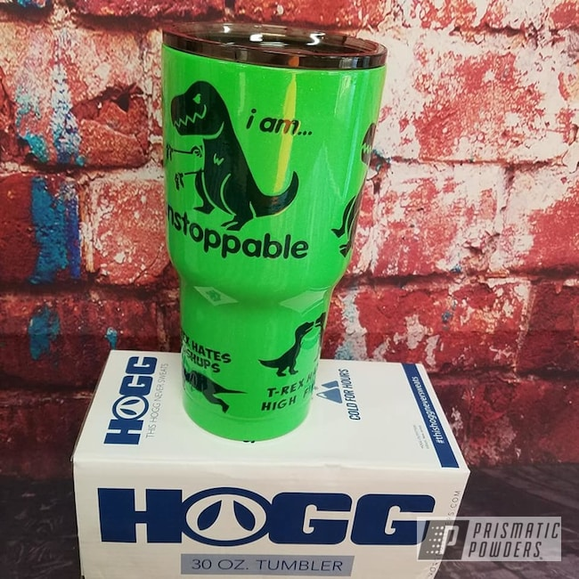 Powder Coating: Custom Cups,Tumbler,T-Rex,Limelite PMB-0869,Ink Black PSS-0106,Drinkware,Dinosaur,Two Color Application,Amity Gold/Green PPB-6010
