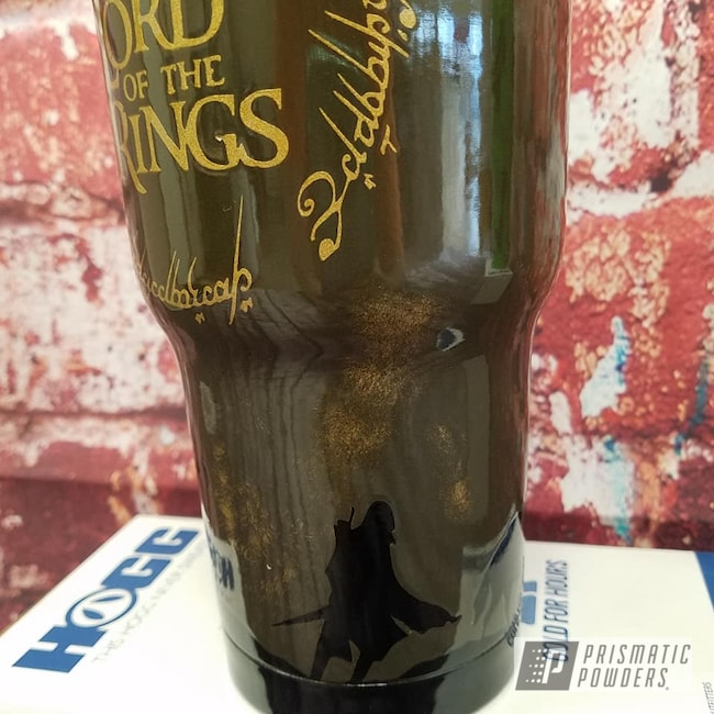 Powder Coating: Goldtastic PMB-6625,Clear Vision PPS-2974,Tumbler,Multi-Color Application,Custom Blend,Leather,Ink Black PSS-0106,Drinkware,Lord of the Rings,Custom Cup,Custom Themed Cup,Texas Bronze PSB-5339