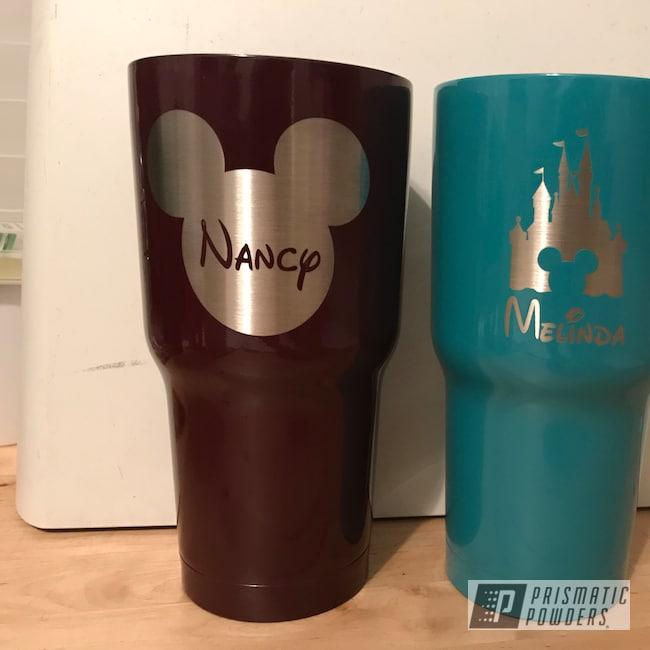 Powder Coating: Claret PSS-1605,30oz Tumbler,Indian Turquoise PSS-2791,Custom Tumbler Cups