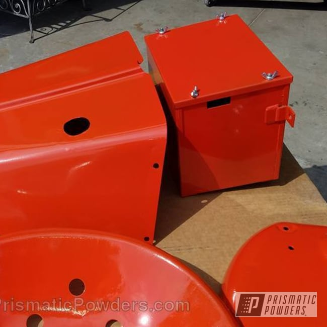 Powder Coating: Single Powder Application,Allis Chalmers Tractor Parts,Cabot Orange PSS-1429,Before and After,Late 40's Model Tractor Parts,Miscellaneous