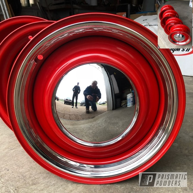 """Powder Coating: Wheels,Automotive,15"""",Really Red PSS-4416,Ford,Steel Rims"""