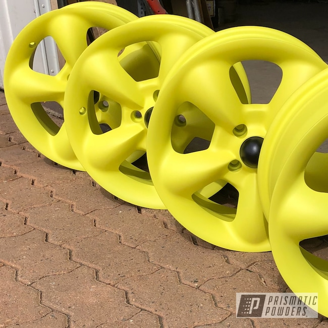 "Powder Coating: Wheels,Automotive,15"",Lemon Yellow PSB-4852,Casper Clear PPS-4005"