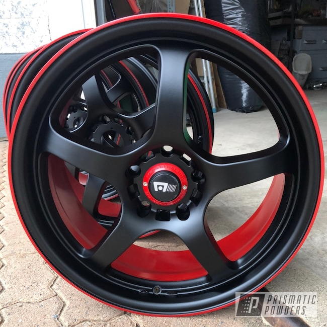 Powder Coating: Wheels,Automotive,Really Red PSS-4416,BLACK JACK USS-1522,Subaru