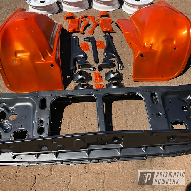 Powder Coating: Automotive,Chassis Parts,Clear Vision PPS-2974,Cloud White PSS-0408,Restoration,ULTRA BLACK CHROME USS-5204,Illusion Tangerine Twist PMS-6964