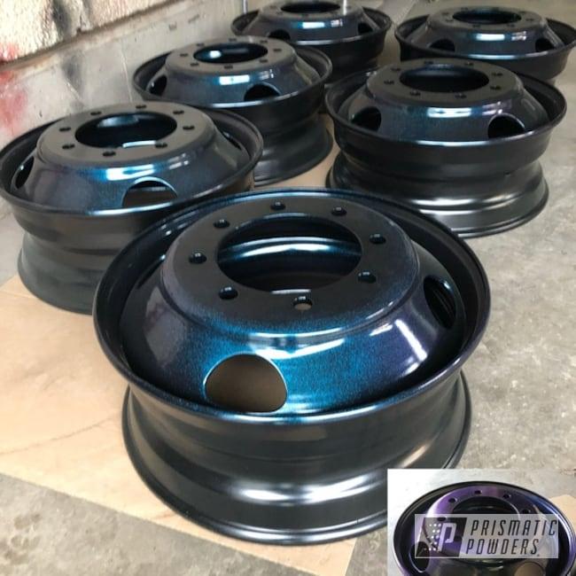 "Powder Coating: Matt Black PSS-4455,Wheels,Automotive,18"" Wheels,Chameleon Sapphire Teal PPB-5732"