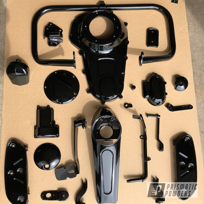 Powder Coating: Harley Davidson,Motor Bike Parts,GLOSS BLACK USS-2603,Motorcycles