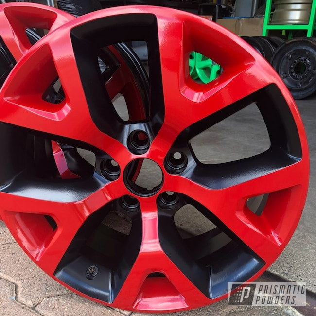 "Powder Coating: Matt Black PSS-4455,Wheels,Automotive,18"",Really Red PSS-4416,18"" Wheels,Jeep,Jeep Wheels"