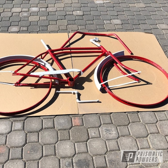 Powder Coating: Bicycles,Really Red PSS-4416,Bicycle Parts,Cloud White PSS-0408