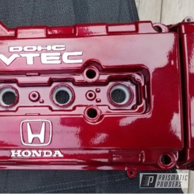 Powder Coating: Automotive,Clear Vision PPS-2974,Honda Valve Cover,Honda,Illusion Red PMS-4515,Cloud White PSS-0408,Valve Cover