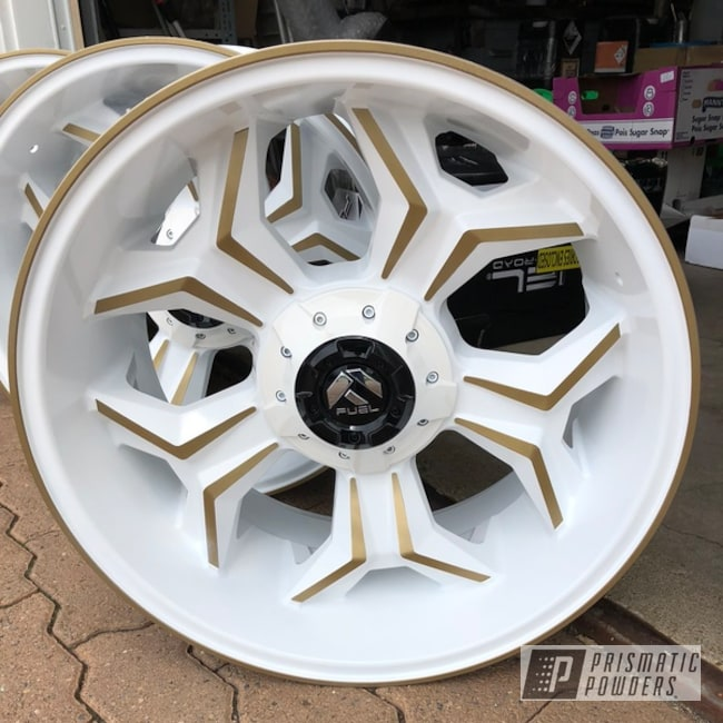 "Powder Coating: Wheels,Automotive,Poly Gold PMB-4211,20"",Cloud White PSS-0408,20"" Wheels"