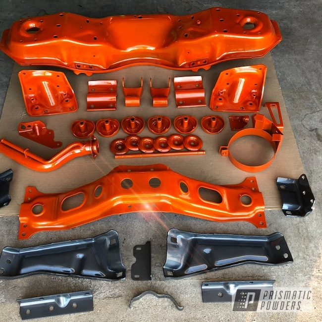 Powder Coating: Matt Black PSS-4455,Automotive,Powder Coated Chassis,Chassis Parts,Clear Vision PPS-2974,Chevy,Illusion Tangerine Twist PMS-6964