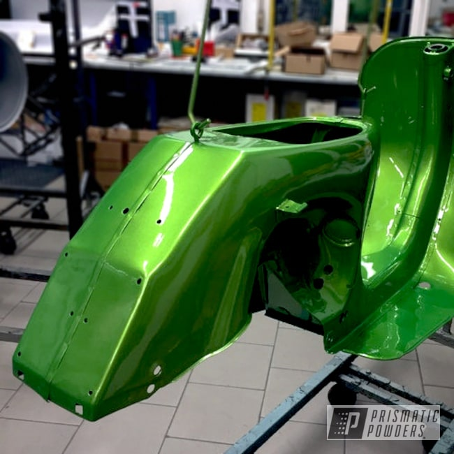 Powder Coating: Clear Vision PPS-2974,Vespa Scooter,Illusion Sour Apple PMB-6913,Two Coats Application,Motorcycles,Solid Tone,Powder Coated Motorcycle Frame