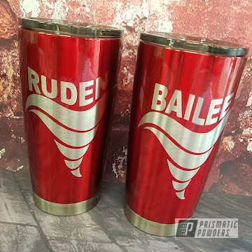 Powder Coated Red Custom Cup