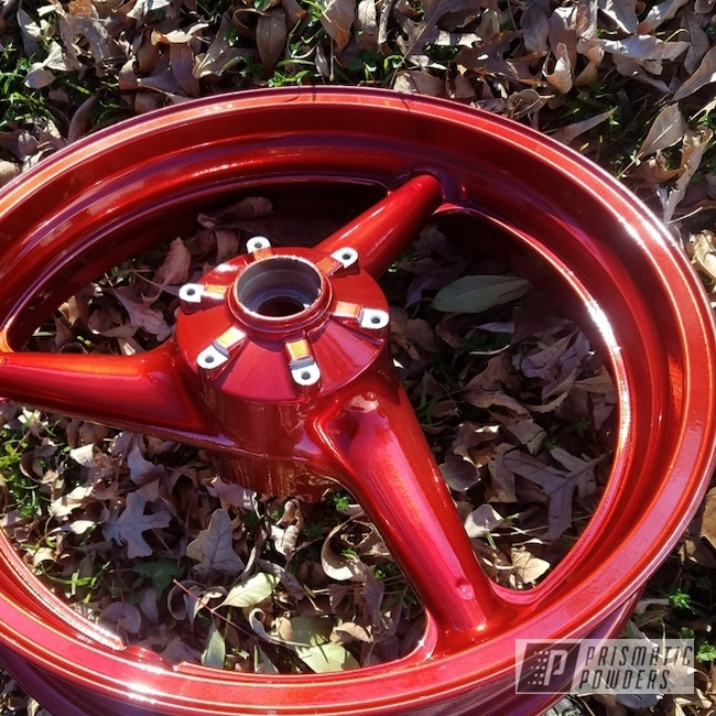 Powder Coated Red Motorcycle Wheels