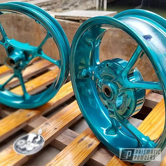"Powder Coating: Wheels,Motor Bike Wheels,Yamaha,Motorcycles,14"",Cortez Teal PPS-4477"