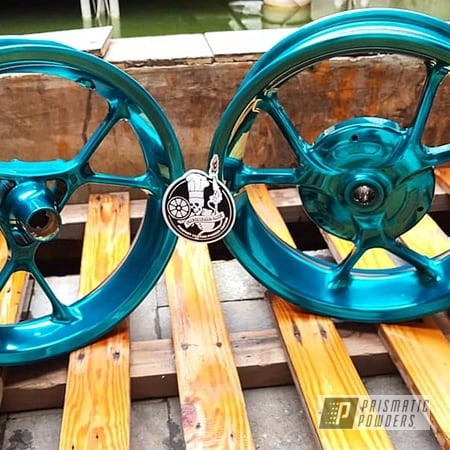 "Powder Coating: Wheels,Motor Bike Wheels,Yamaha,Motorcycles,14"",Cortez Teal PPS-4477"
