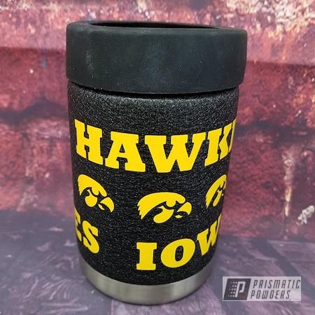 Powder Coating: Splatter Black PWS-4344,Drinkware,RAL 1003 Signal Yellow,Custom Cup,Can Koozie