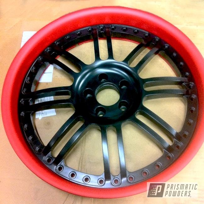Powder Coating: Wheels,Two-Tone Application,Red Wheel PSS-2694,Automotive,BLACK JACK USS-1522,Powder Coated Automotive Wheels,Casper Clear PPS-4005