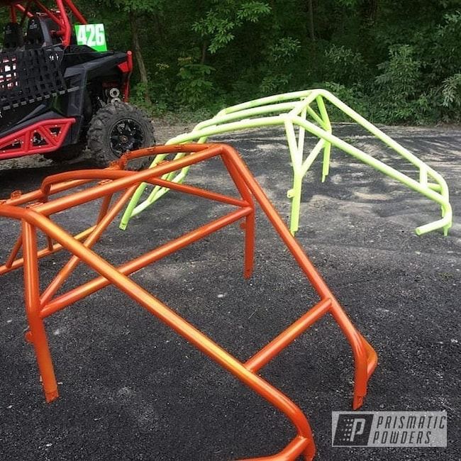 Powder Coating: Clear Vision PPS-2974,UTV,Neon Yellow PSS-1104,Polaris,Illusion Orange PMS-4620,Roll Cages