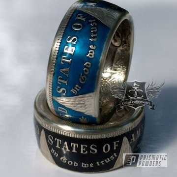 Custom Ring Coated In A Transparent Blue Finish