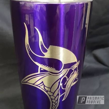 Powder Coating: Yeti Cup,Tumbler,Football Theme,Custom Vikings YETI,Powder Coated Tumbler Cup,Lollypop Purple PPS-1505,NFL,Miscellaneous