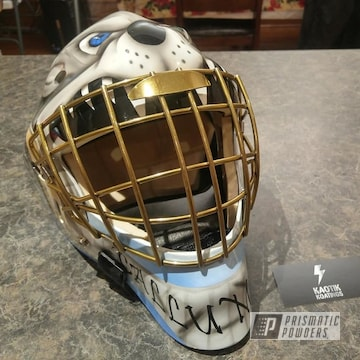 Powder Coated Gold Goalie Mask