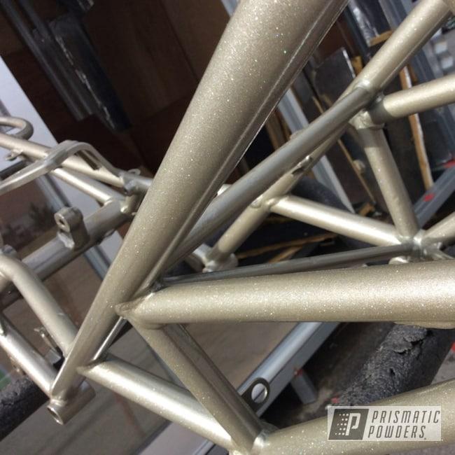 Powder Coating: Shattered Glass PPB-5583,Ducati,Bike Frame,Monster,Motorcycles,Performance Gold PMB-1808