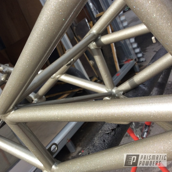 Powder Coating: Shattered Glass PPB-5583,Ducati,Bike Frame,Monster,Motorcycles,Performance Gold PMB-1808