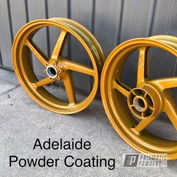 Powder Coated Gold Motorcycle Wheels