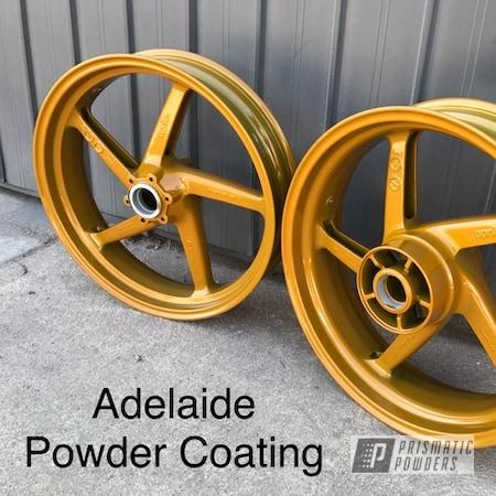 Powder Coating: Wheels,Custom Motorcycle Wheels,Memphis Gold PPB-5983,Motorcycle Wheels,Motorcycles