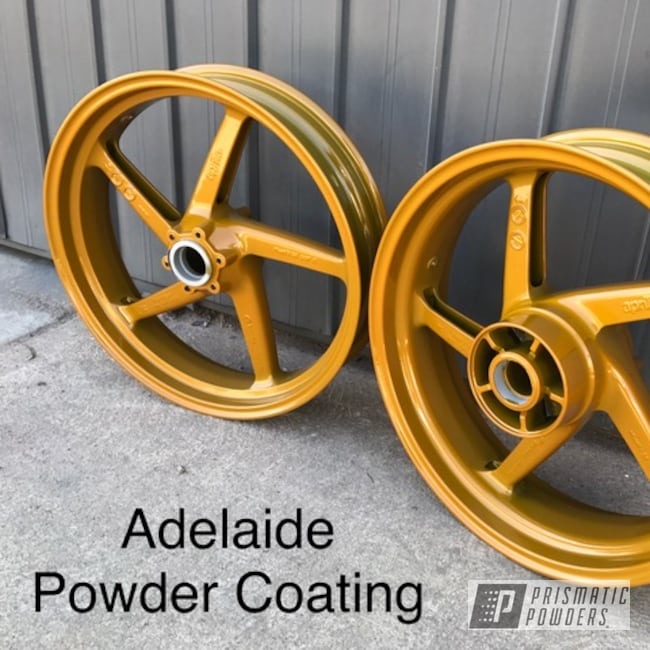 Powder Coating: Wheels,Custom Motorcycle Wheels,Memphis Gold PPB-5983,Motorcycle Wheels,Motorcycles