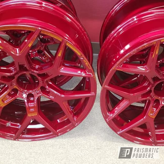 "Powder Coating: Wheels,Automotive,Custom Rims,Illusion Powder Coating,Clear Vision PPS-2974,Two Stage Application,20"" Aluminum Wheels,Illusion Cherry PMB-6905"