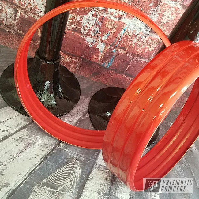 Powder Coating: Clear Vision PPS-2974,Two Stage Application,Ink Black PSS-0106,Bar Stool,Decorative Furniture,Fire Orange PMB-6463,Furniture