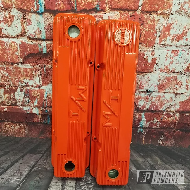 Powder Coating: Automotive,Valve Covers,Chevy Orange PSS-0163,Engine Parts