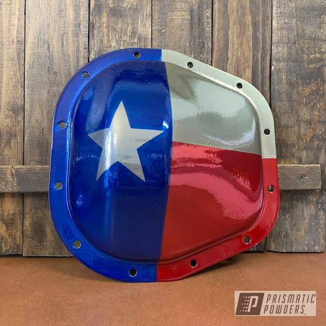 Powder Coating: Texas,SWEET EXPLOSION UPB-1242,Clear Vision PPS-2974,Sterling 10.5 Diff cover,SUPER CHROME USS-4482,Peeka Blue PPS-4351,Texas Flag,ford f250,Differential Cover,Ford,Automotive Parts